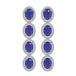 15.68 ctw Sapphire & Diamond Micro Pave Halo Earrings 10K White Gold