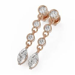 2.5 ctw Marquise Cut Diamond Earrings 18K Rose Gold