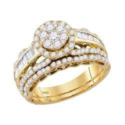 14kt Yellow Gold Round Diamond Bridal Wedding Engagement Ring Band Set 1-1/2 Cttw