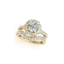 1.97 ctw Certified VS/SI Diamond 2pc Wedding Set Halo 14K Yellow Gold