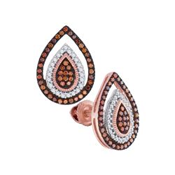 10kt Rose Gold Round Red Color Enhanced Diamond Framed Teardrop Cluster Earrings 1/3 Cttw