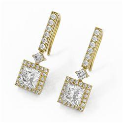 3 ctw Princess Cut Diamond Designer Earrings 18K Yellow Gold