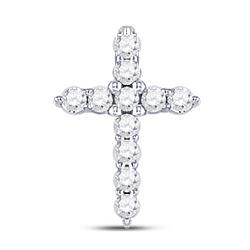 10kt White Gold Round Diamond Classic Cross Pendant 1/10 Cttw