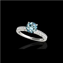 1.18 ctw SI Certified Blue Diamond Solitaire Antique Ring 10K White Gold