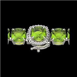 40 ctw Peridot & Micro VS/SI Diamond Bracelet 14K White Gold
