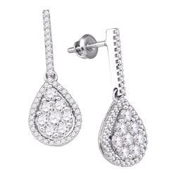 10kt White Gold Round Diamond Dangle Screwback Earrings 1-1/2 Cttw