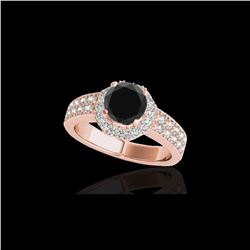 1.4 ctw Certified VS Black Diamond Solitaire Halo Ring 10K Rose Gold