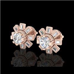 1.77 ctw VS/SI Diamond Solitaire Art Deco Stud Earrings 18K Rose Gold