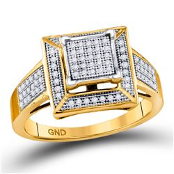 10kt Yellow Gold Round Pave-set Diamond Square Frame Cluster Ring 1/4 Cttw
