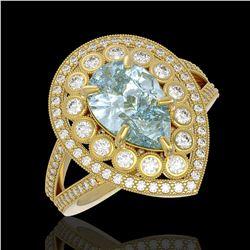 3.82 ctw Certified Aquamarine & Diamond Victorian Ring 14K Yellow Gold