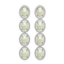 9.16 ctw Opal & Diamond Micro Pave Halo Earrings 10K White Gold