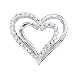 10kt White Gold Round Diamond Double Nested Heart Pendant 1/4 Cttw