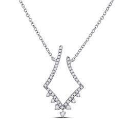 14kt White Gold Round Diamond Modern-V Fashion Necklace 1/4 Cttw