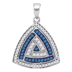 10kt White Gold Round Blue Color Enhanced Diamond Triangle Pendant 1/3 Cttw