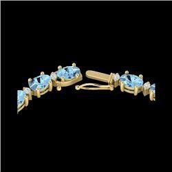 24 ctw Aquamarine & VS/SI Diamond Eternity Necklace 10K Yellow Gold