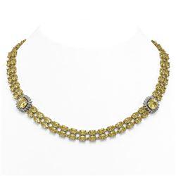 64.13 ctw Citrine & Diamond Necklace 14K Yellow Gold