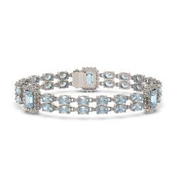 17.68 ctw Sky Topaz & Diamond Bracelet 14K White Gold