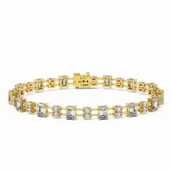 11 ctw Emerald and Marquise Cut Diamond Bracelet 18K Yellow Gold