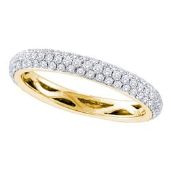14kt Yellow Gold Round Pave-set Diamond Wedding Band 3/4 Cttw