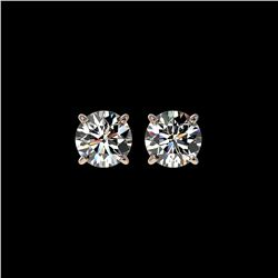 1.55 ctw Certified Quality Diamond Stud Earrings 10K Rose Gold