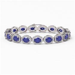22.89 ctw Sapphire & Diamond Micro Pave Halo Bracelet 10K White Gold