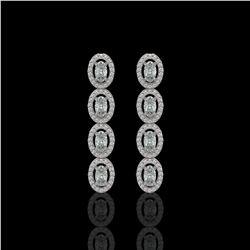 3.84 ctw Oval Cut Diamond Micro Pave Earrings 18K White Gold