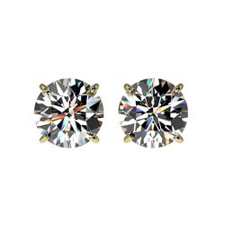 1.97 ctw Certified Quality Diamond Stud Earrings 10K Yellow Gold