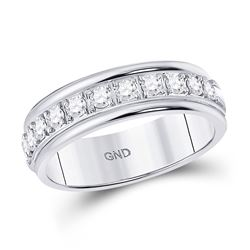 10kt White Gold Round Diamond Single Row Band Ring 1/2 Cttw