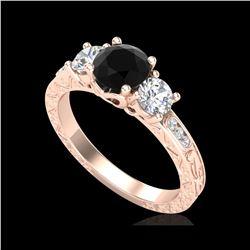 1.41 ctw Fancy Black Diamond Art Deco 3 Stone Ring 18K Rose Gold