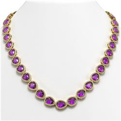 43.2 ctw Amethyst & Diamond Micro Pave Halo Necklace 10K Yellow Gold