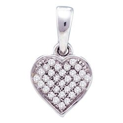 10kt White Gold Round Diamond Small Dainty Heart Pendant 1/10 Cttw