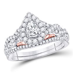 14kt Two-tone Gold Pear Diamond Bridal Wedding Engagement Ring Band Set 1.00 Cttw