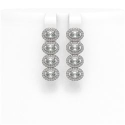 4.52 ctw Oval Cut Diamond Micro Pave Earrings 18K White Gold