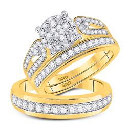 10kt Yellow Gold His & Hers Round Diamond Cluster Matching Bridal Wedding Ring Band Set 1.00 Cttw