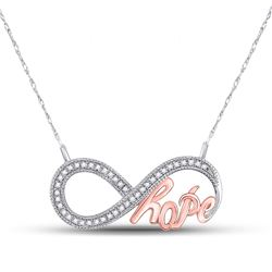 10kt White Gold Round Diamond Infinity Hope Rose-tone Pendant Necklace 1/10 Cttw