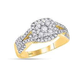 14kt Yellow Gold Round Diamond Square Cluster Bridal Wedding Engagement Ring 1.00 Cttw