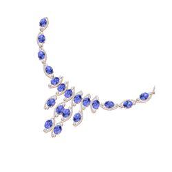 65.60 ctw Tanzanite & VS Diamond Necklace 18K Rose Gold