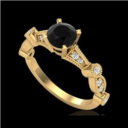 1.03 ctw Fancy Black Diamond Engagement Art Deco Ring 18K Yellow Gold