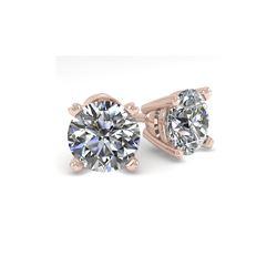 2.0 ctw VS/SI Diamond Stud Designer Earrings 14K Rose Gold