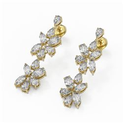 4.78 ctw Mix Cut Diamonds Designer Earrings 18K Yellow Gold