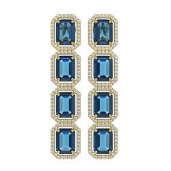18.99 ctw London Topaz & Diamond Micro Pave Halo Earrings 10K Yellow Gold