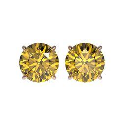 2.50 ctw Certified Intense Yellow Diamond Stud Earrings 10K Rose Gold