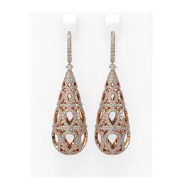 4.17 ctw Diamond Earrings 18K Rose Gold