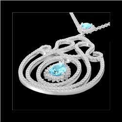 3.20 ctw Sky Blue Topaz & Micro Diamond Heart Necklace 14K White Gold