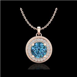 1.25 ctw Fancy Intense Blue Diamond Art Deco Necklace 18K Rose Gold
