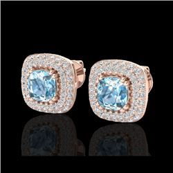 2.16 ctw Sky Blue Topaz & Micro VS/SI Diamond Earrings 14K Rose Gold