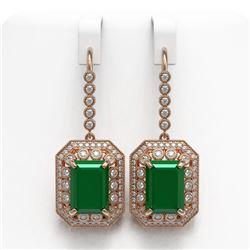 23.79 ctw Certified Emerald & Diamond Victorian Earrings 14K Rose Gold