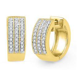 10kt Yellow Gold Round Diamond Triple Row Huggie Hoop Earrings 1/4 Cttw