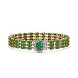 29.85 ctw Emerald & Diamond Bracelet 14K Yellow Gold