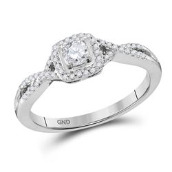 10kt White Gold Round Diamond Solitaire Twist Bridal Wedding Engagement Ring 1/3 Cttw